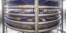 Spiral belt conveyor for food processing